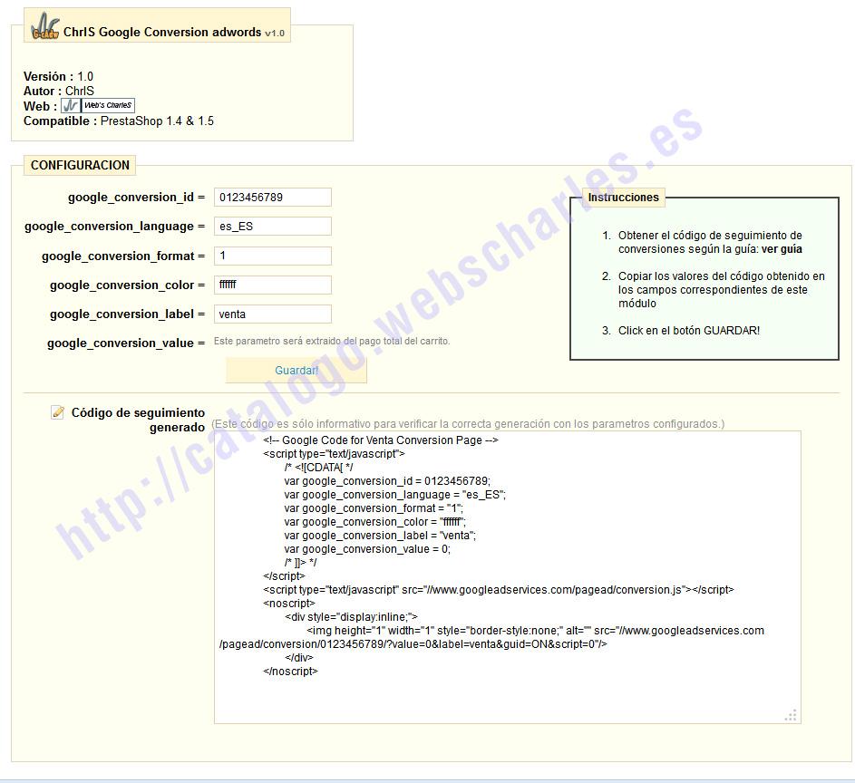 Módulo prestashop: Código de seguimiento para conversiones de Google adwords