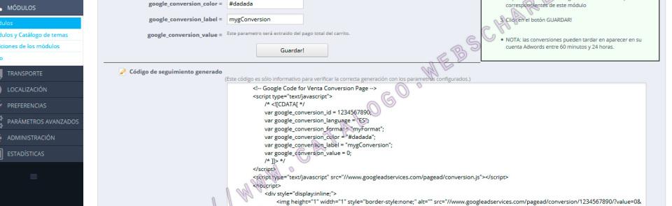Módulo prestashop 1.7: Código de seguimiento para conversiones de Google adwords